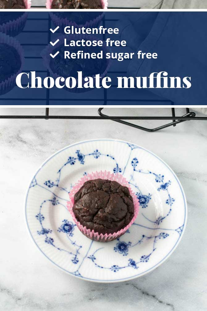Glutenfree lactose free refined sugarfree chocolate muffins