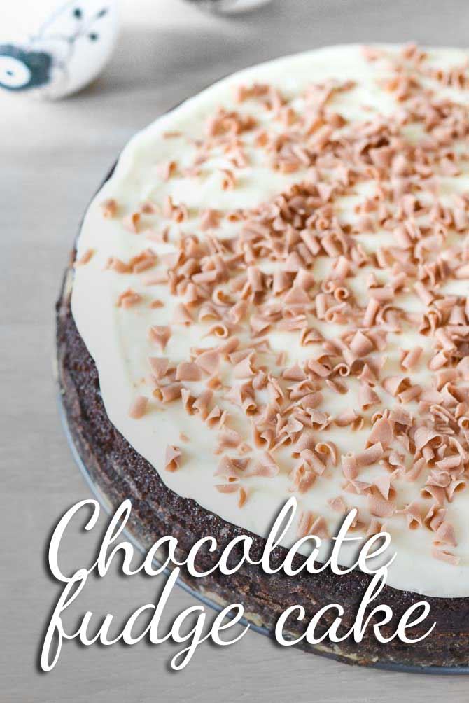 Chocolate fudge cake with whipped frosting