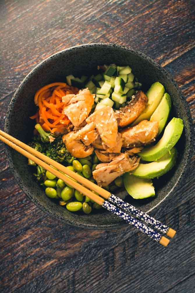 Wok med laks og grøntsager