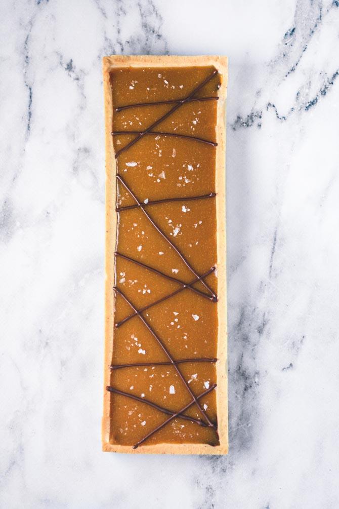 Chokolade og karamel tærte fra Bageglad