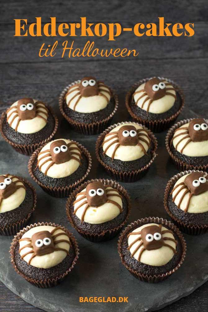 Edderkop cupcakes til Halloween