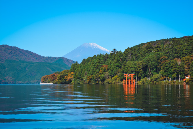 Mount Fuji ved Lake Ashi i Hakone Japan