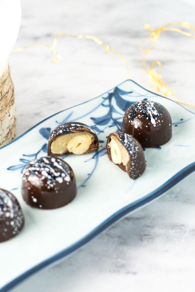 Fyldt chokolade med hasselnødder