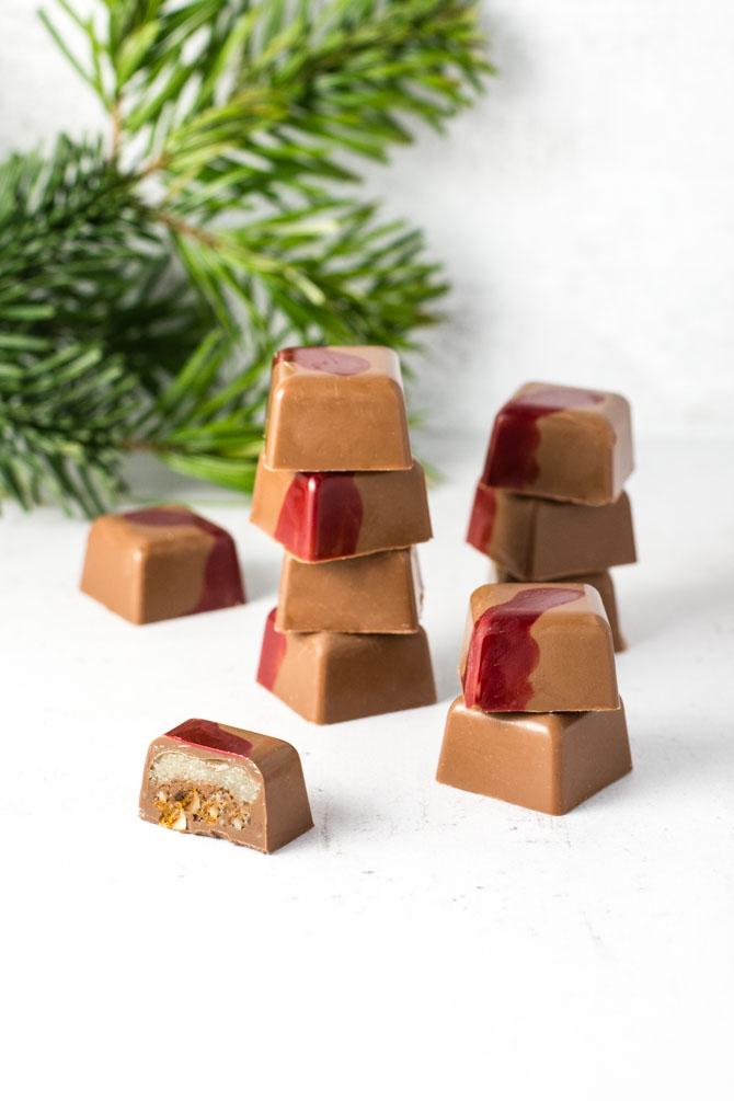 Fyldt chokolade med mandel krokant
