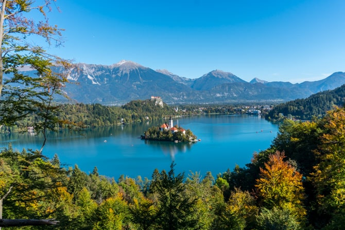 Udsigt over Lake Bled
