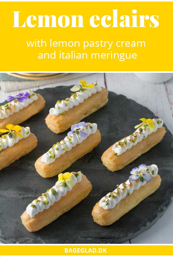 Lemon eclairs with pistachio