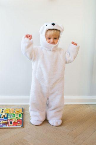 Fastelavnskostume 1,5 år baby isbjørn