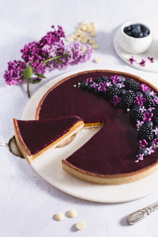 Lemon curd blåbær tærte